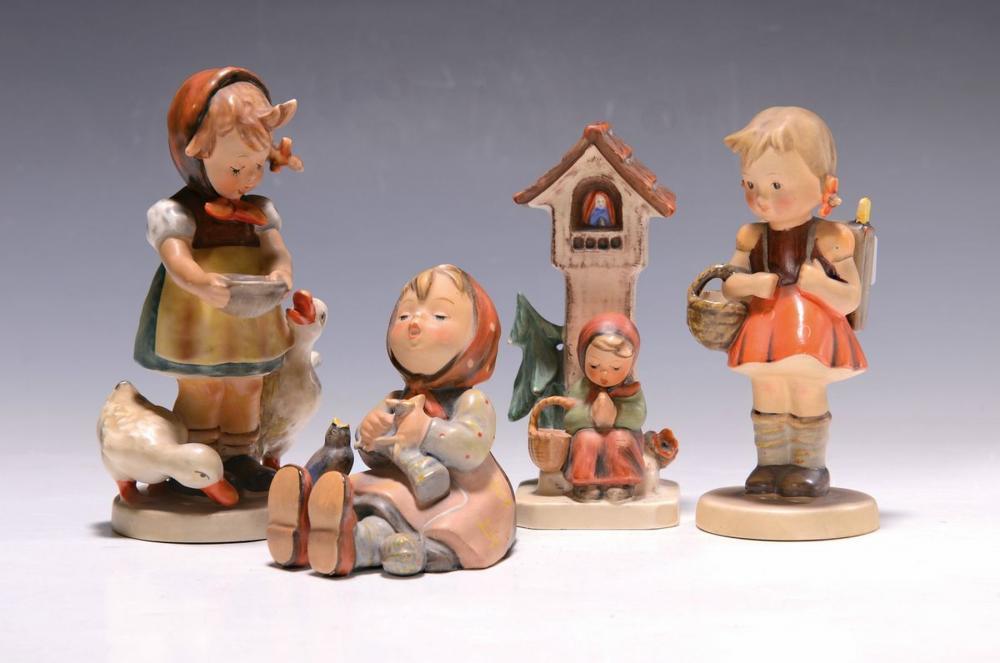 Four Hummel figurines, manufacture Goebel, 1950s