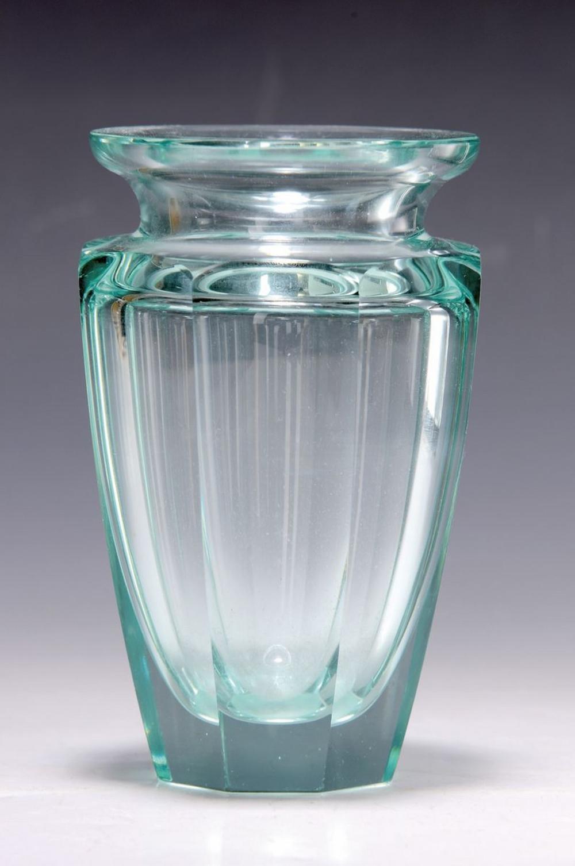 vase, Moser Karlsbad, 1950s, light green faceted