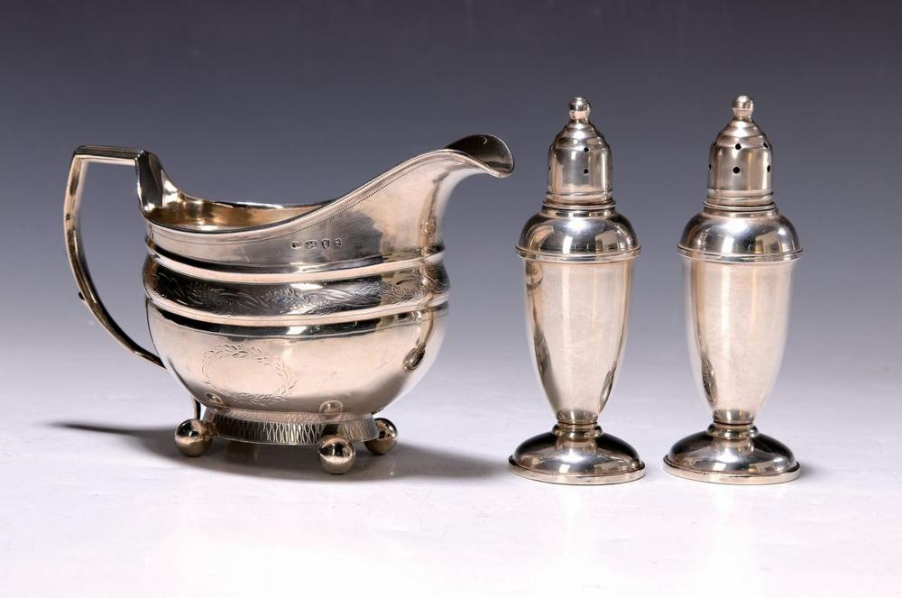 creamer and two spice shakers, Sterling silver, 1