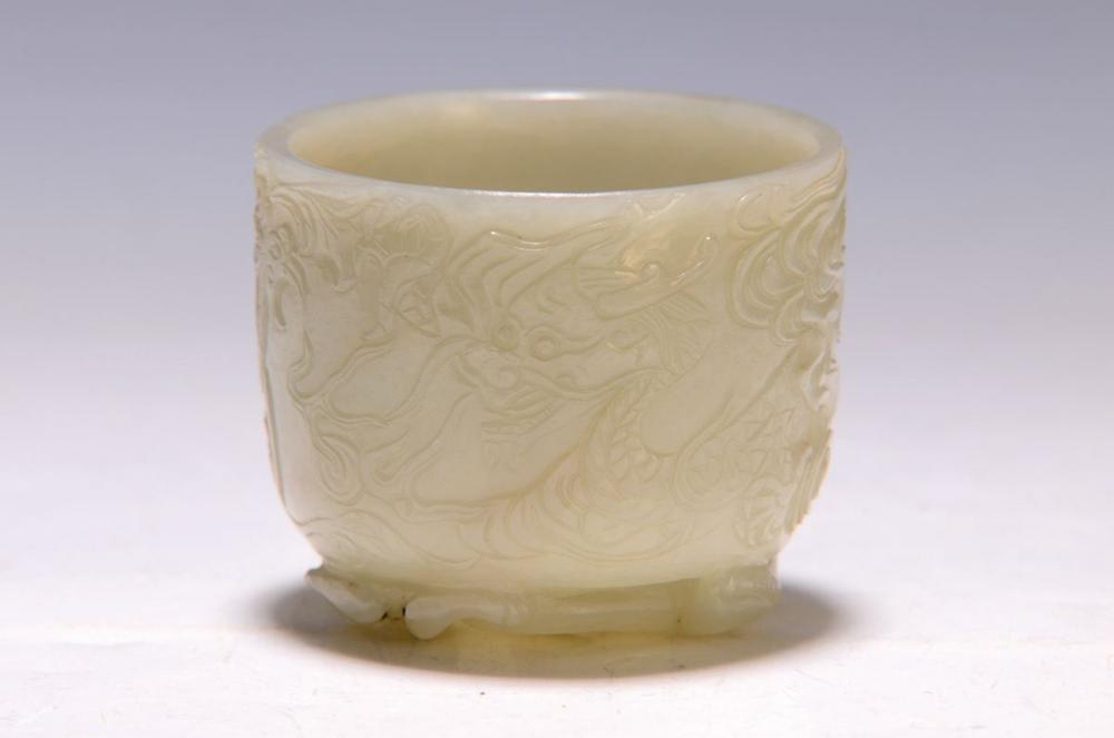 Jade vessel, China, around 1900, carved, dragon