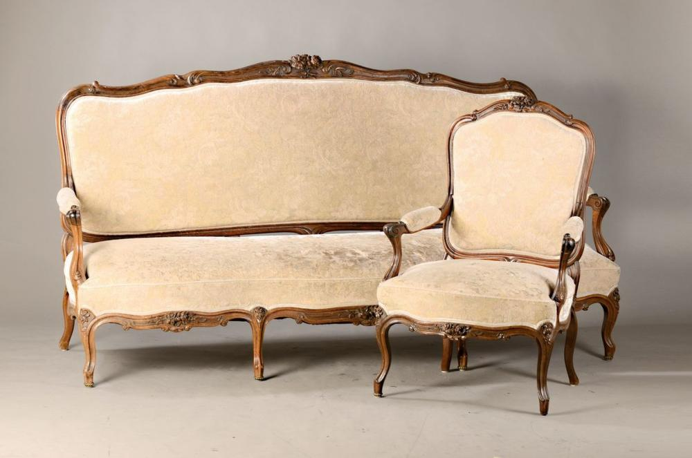 bench and two matching armchairs, Baroque style