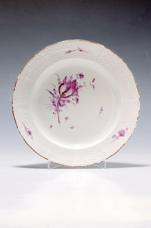 plate, Frankenthal, 1762-1770, ruby red flowerpainting in