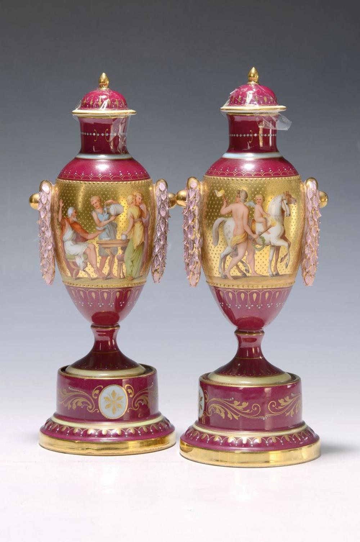 Two splendid vases, Dresden, around 1900, allegorical