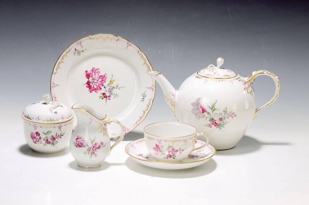 tea set, KPM Berlin, 20th c., porcelain, opulent