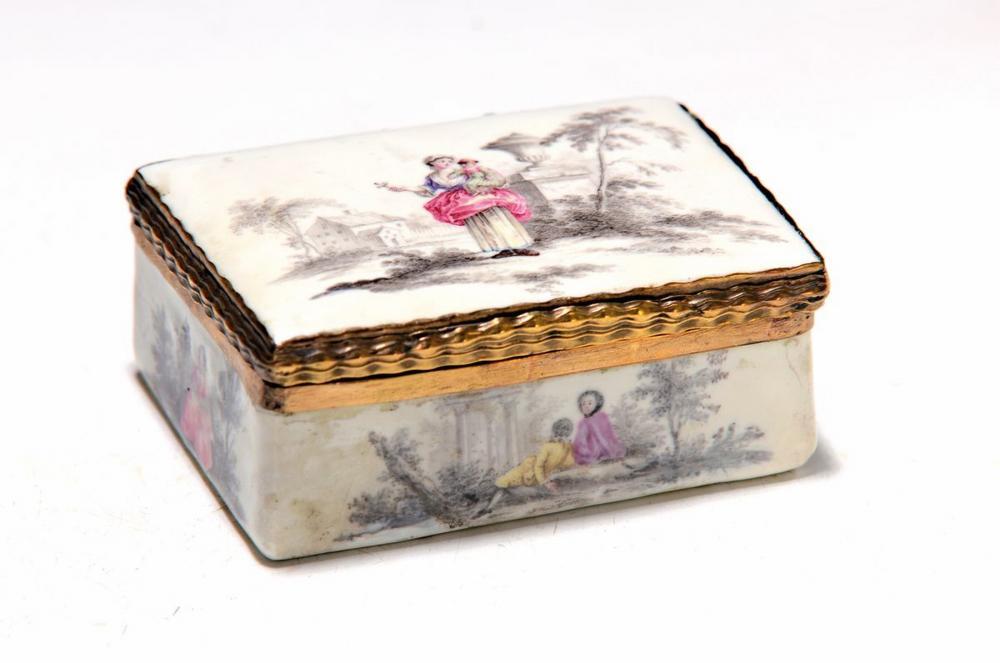 lid box, probably Berlin, around 1770, enamel,encircling