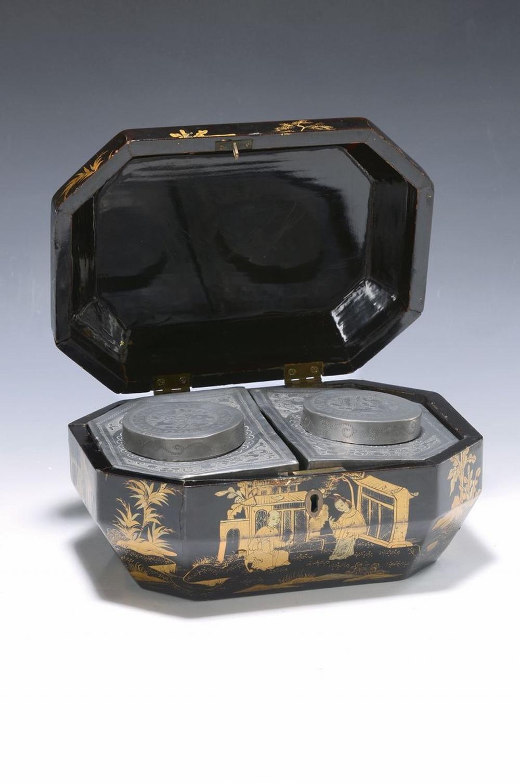 tea vessel, China, 2.h.19.th c., box black varnish with