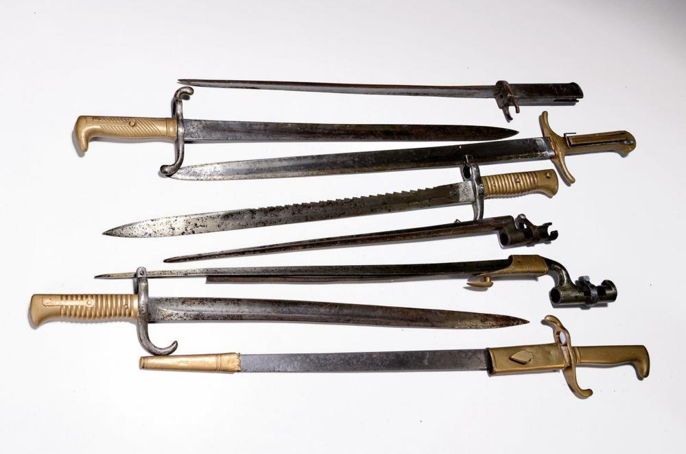 Eight different bayonets, Europe, 19th century and