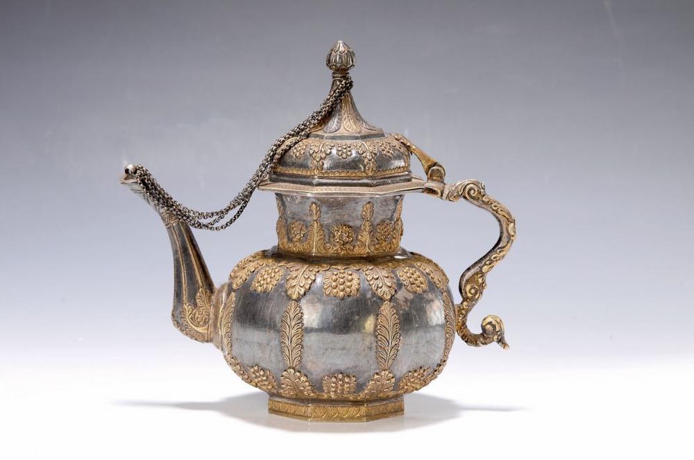 tea pot, Nepal, around 1900, silver acid tested
