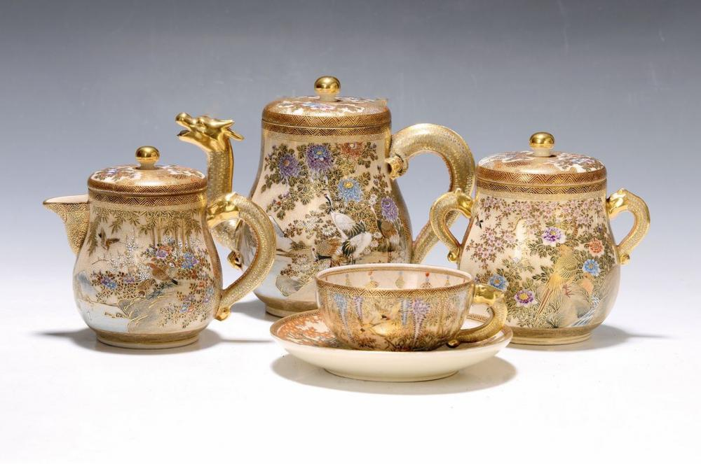 tea set, Satsuma, around 1915-20, so-called gold brocade