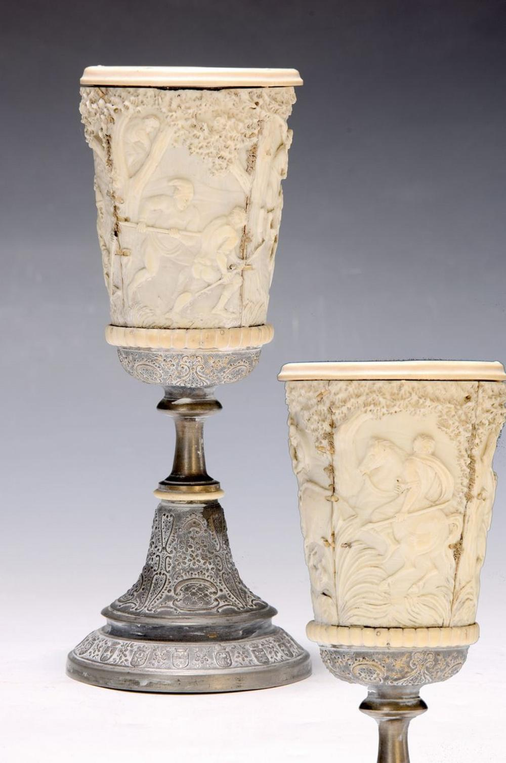 goblet with Ivory Pads, German, 18/19th c., encircling