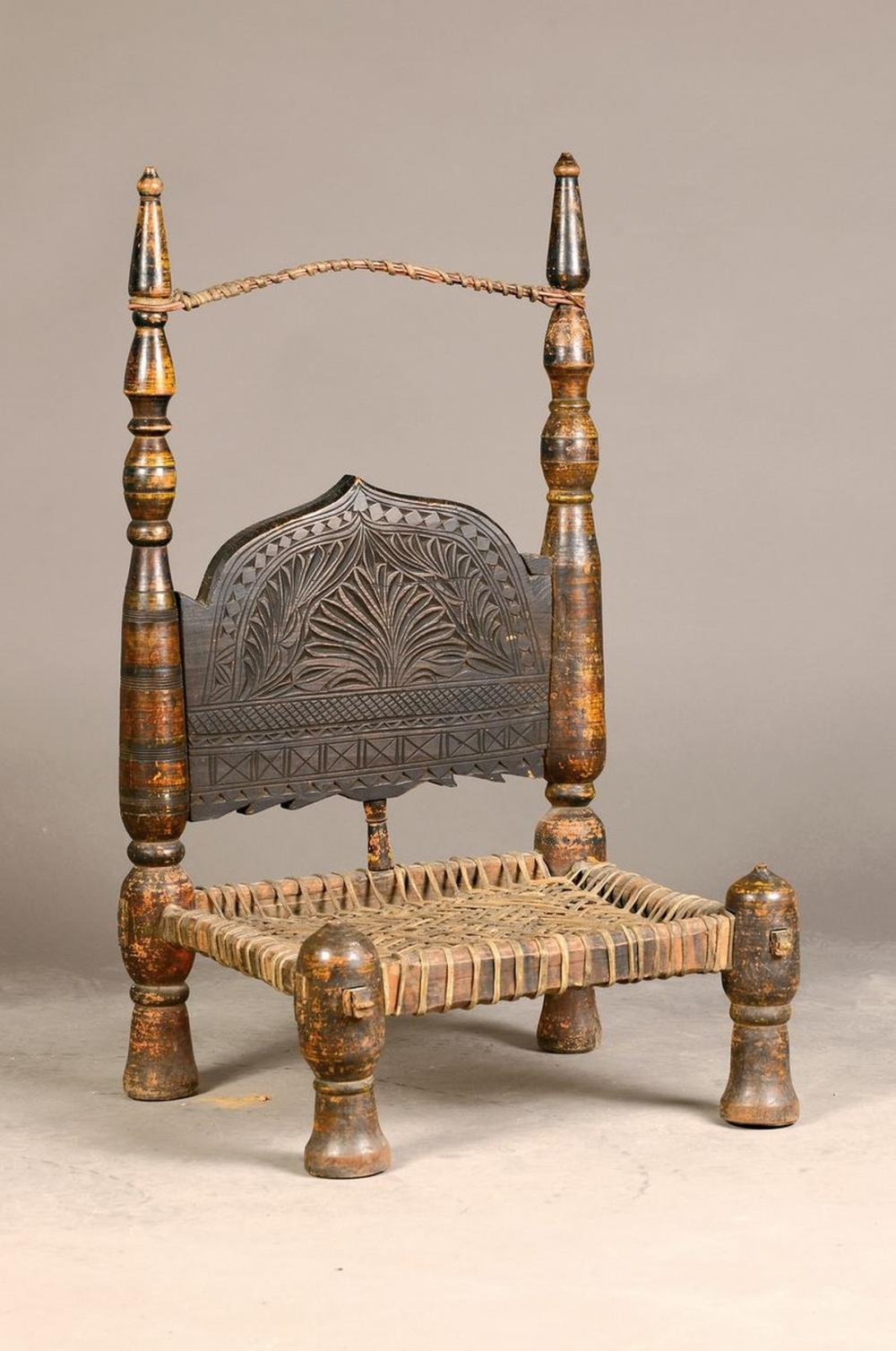 Armchair, Afghanistan, around 1900, seat with wickerwork