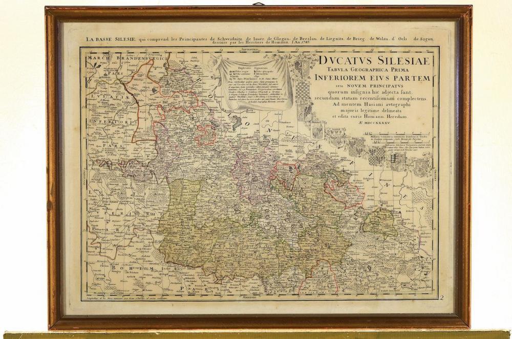 Three copper etchings, Homann, 18th C., maps of