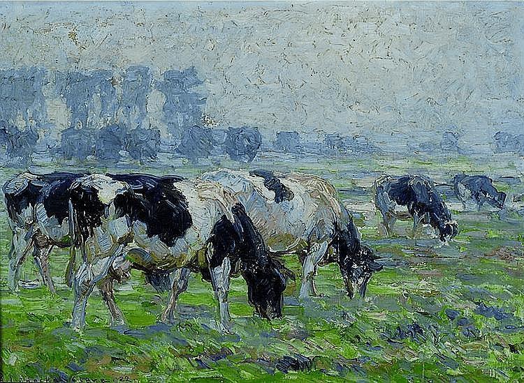 Lüdecke-Cleve, August, 1868-1957, Weidende Kühe,