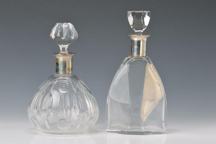 2 crystal carafes