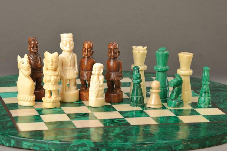 chess, malachite/marble