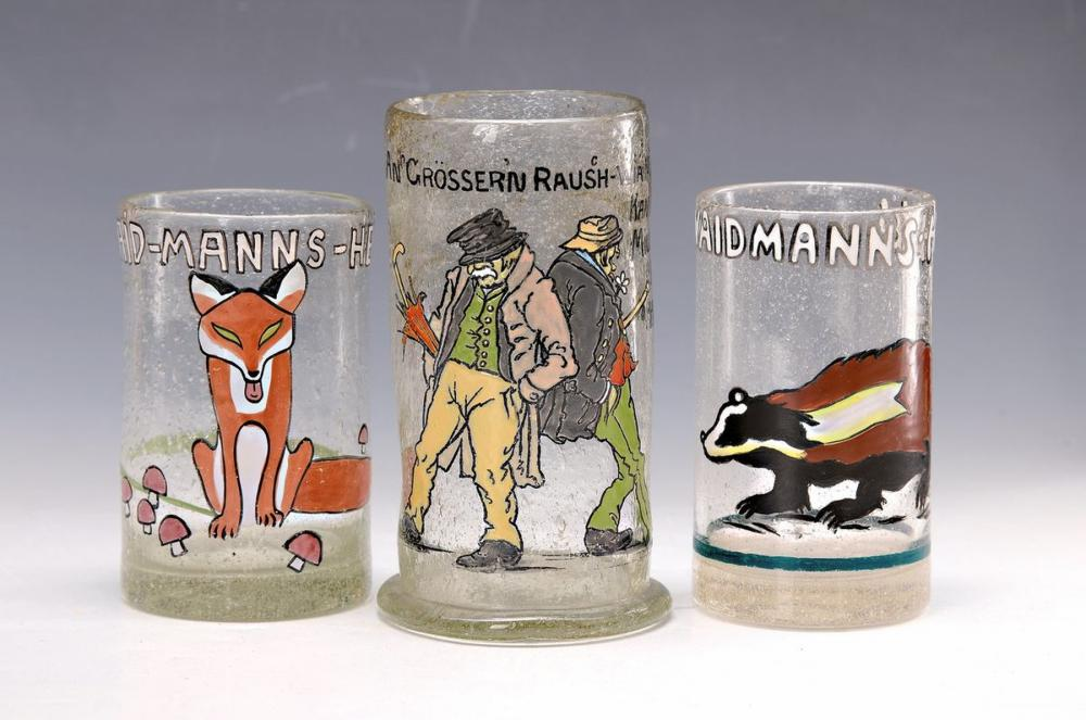3 beakers with enamel painting, probably Ludwig