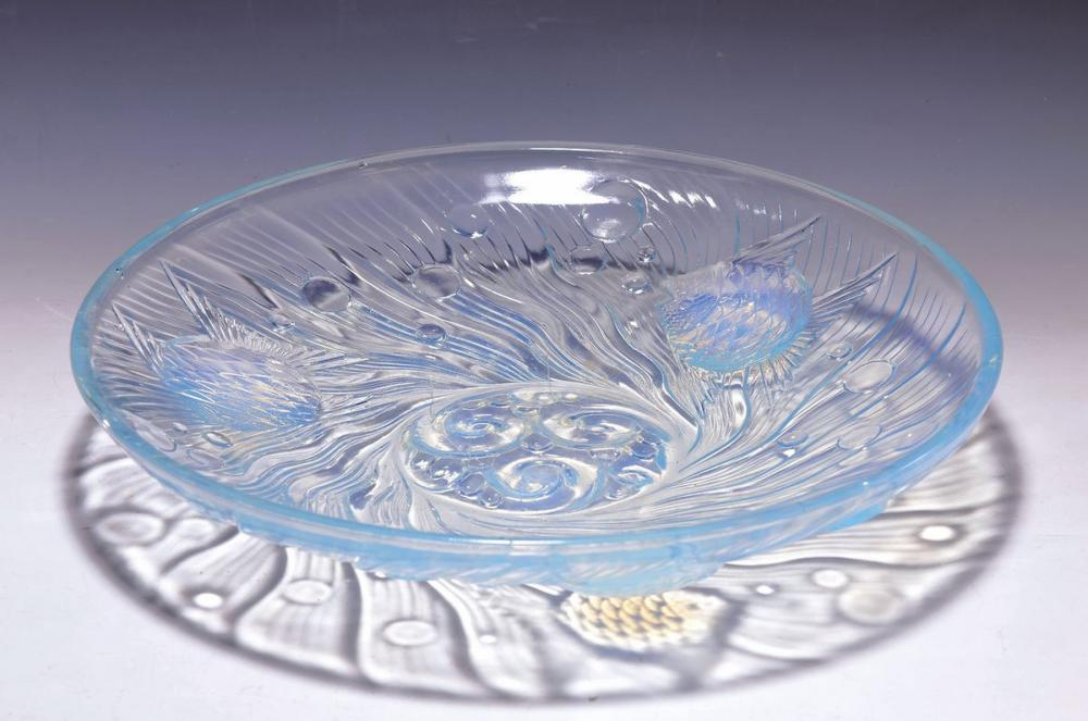 Large plate, France, 1920s, moulded glass, partly