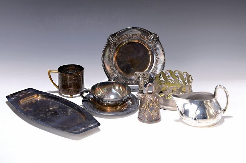 Large lot of Art Nouveau pewter, silver and metal