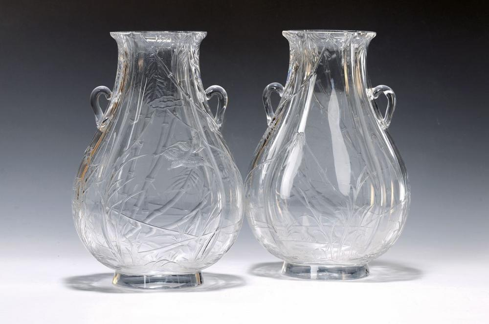 pair of large vases, Baccarat, around 1895, colorless