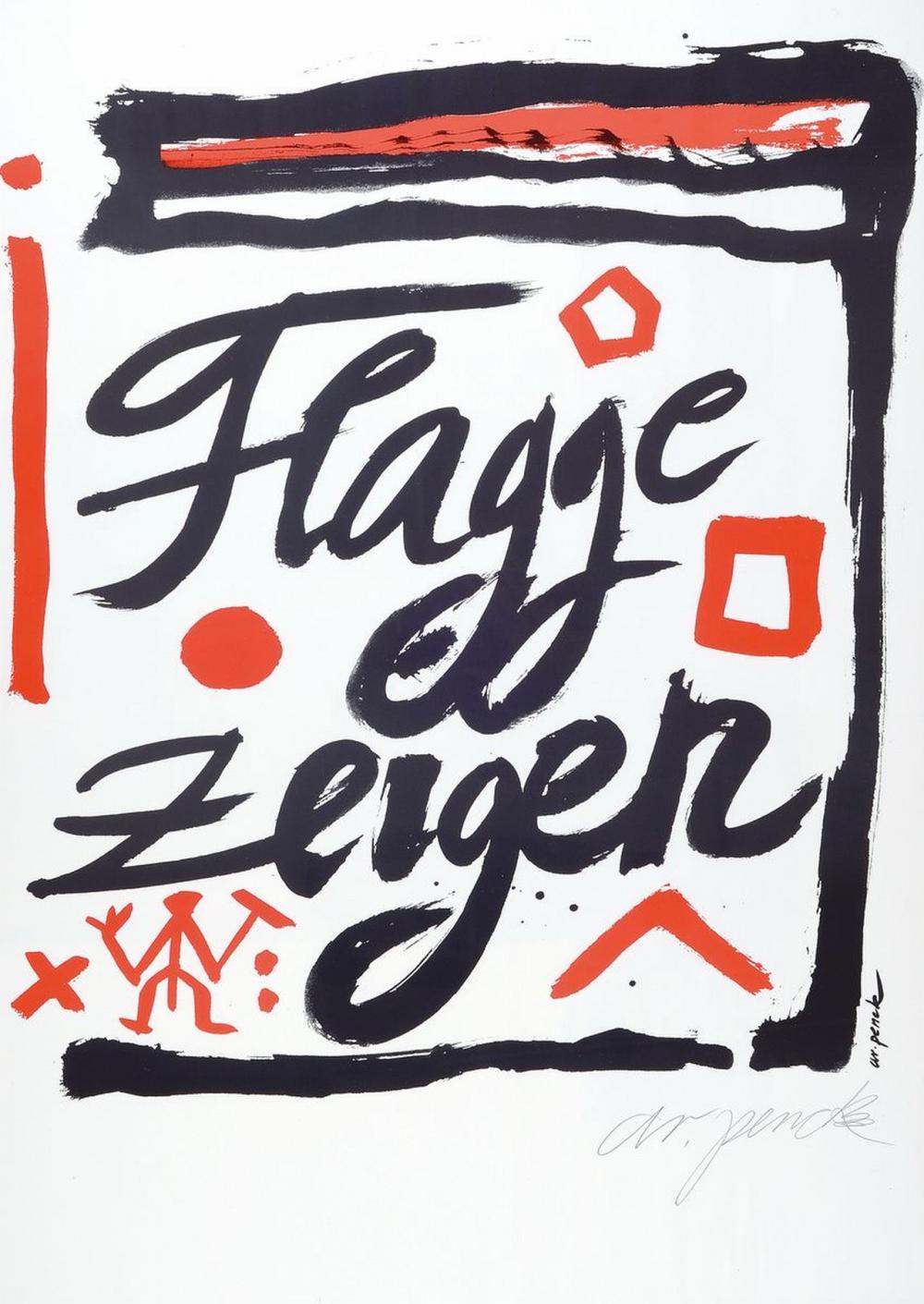 A.R. Penck, 1939-2017, serigraph on cardboard,# 'Show flag