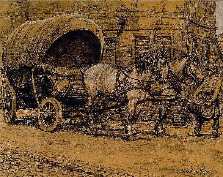 Luckhardt, Karl, 1886-1970, Brauerei- Fuhrwerk vor