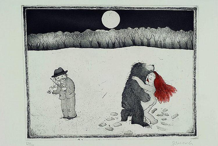 Janosch (Horst Eckert), geb. 1931, Radierung,