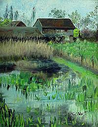 Wolff, Eugen, 1873-1937, Bauernhaus im Moor,