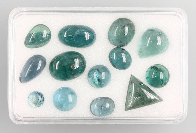 Lot of indigolite cabochons