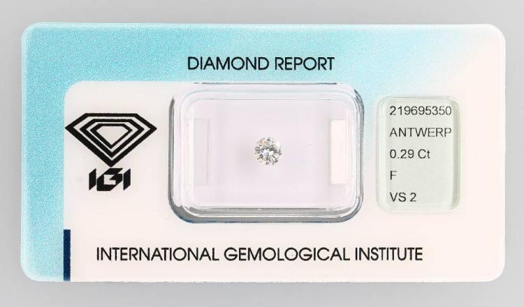 Loose brilliant, 0.29 ct, Top Wesselton (F)/vs2