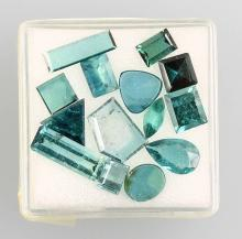 Lot loose blue tourmalines (indigolites), different