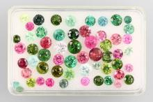 Lot loose round bevelled tourmalines