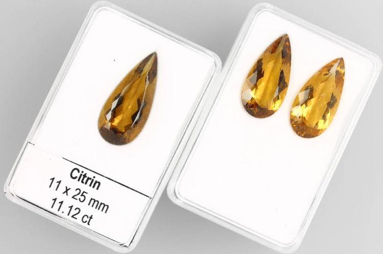 3 loose citrine pears