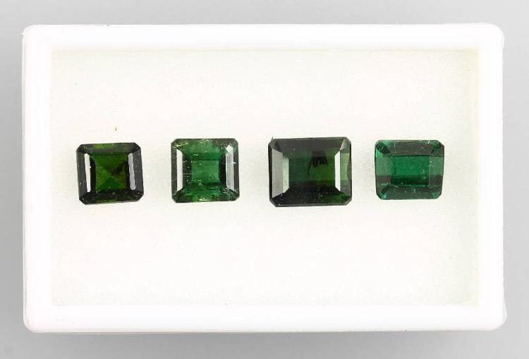 Lot made of 4 bevelled green tourmalines