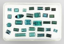 Lot made of bevelled blue tourmalines
