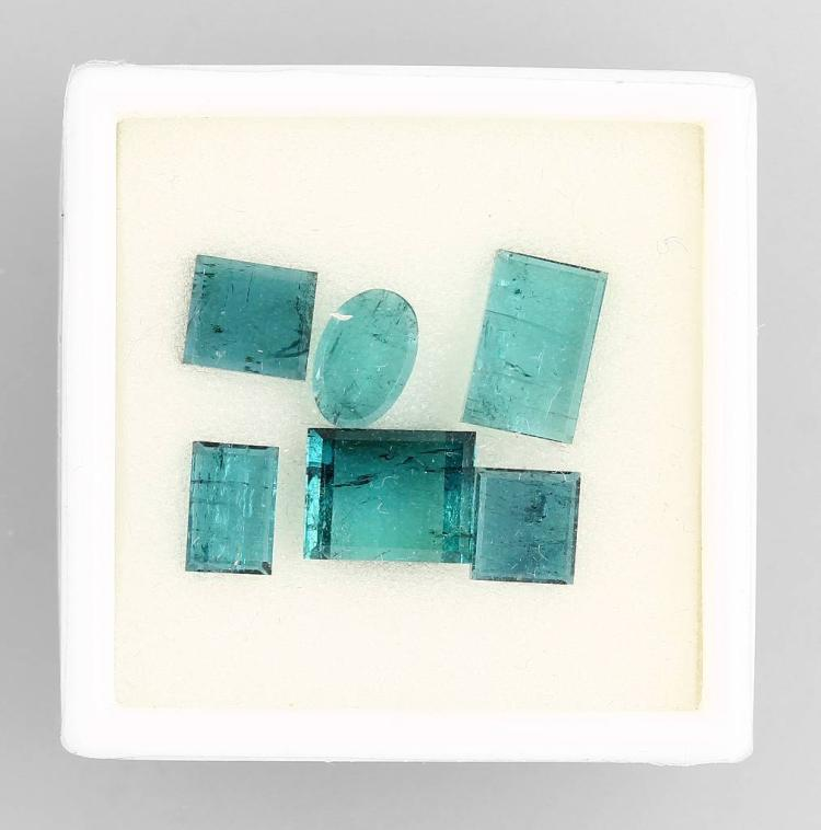 Lot 6 bevelled blue tourmalines