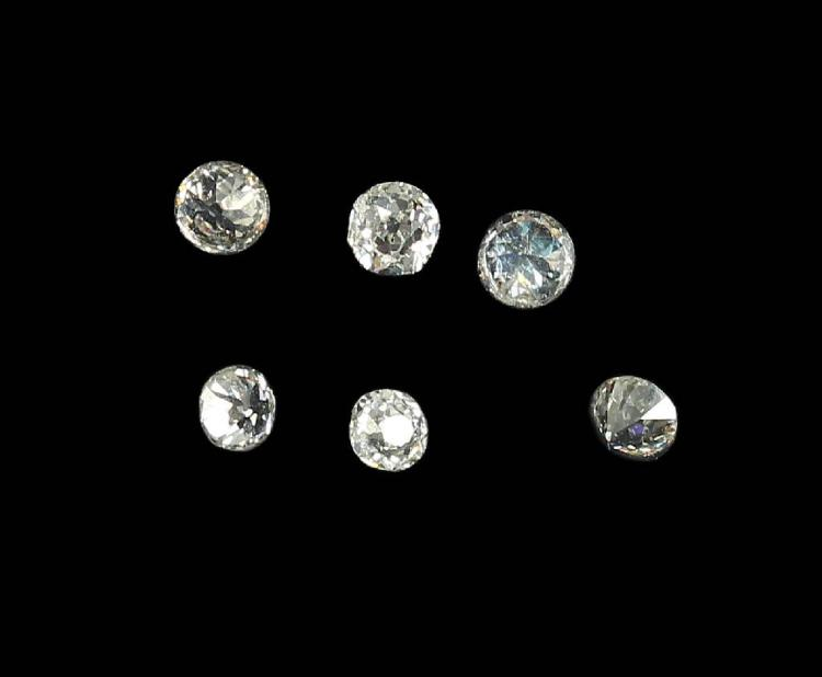 Lot 6 loose old cut diamonds, total approx. 1.154 ct
