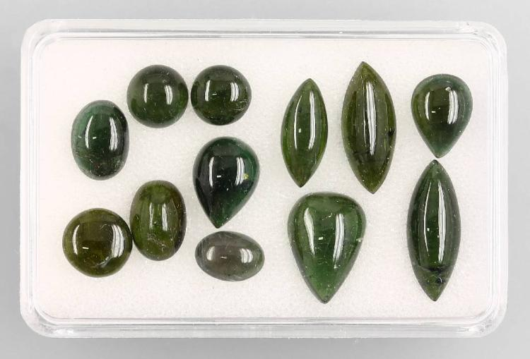 Lot made of 12 tourmaline cabochons