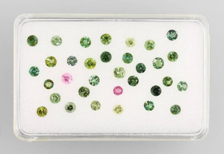 Lot made of round bevelled tourmalines