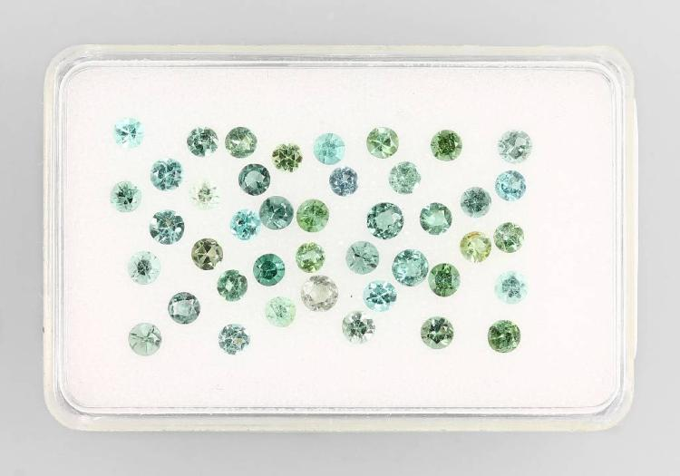 Lot made of round bevelled paraiba coloured tourmalines