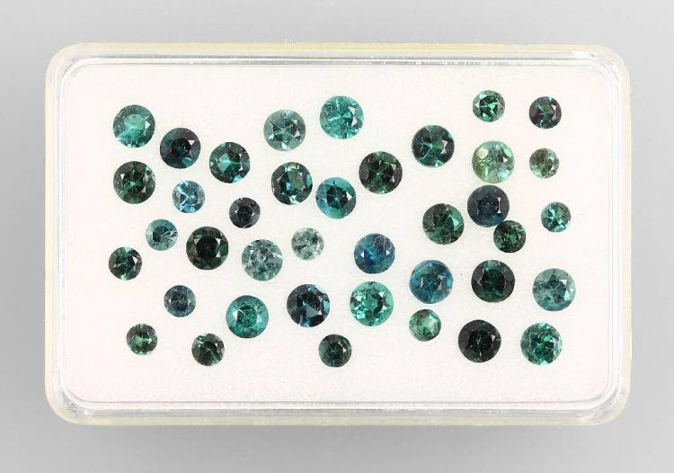 Lot round bevelled tourmalines (Indigolites)
