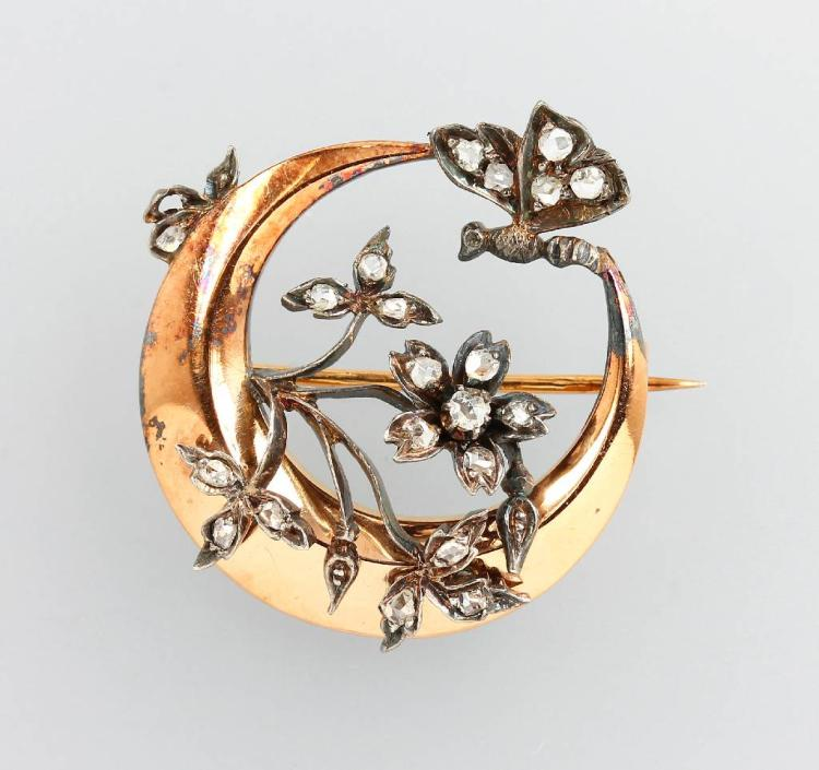 Brooch with diamond-roses, France approx. 1860