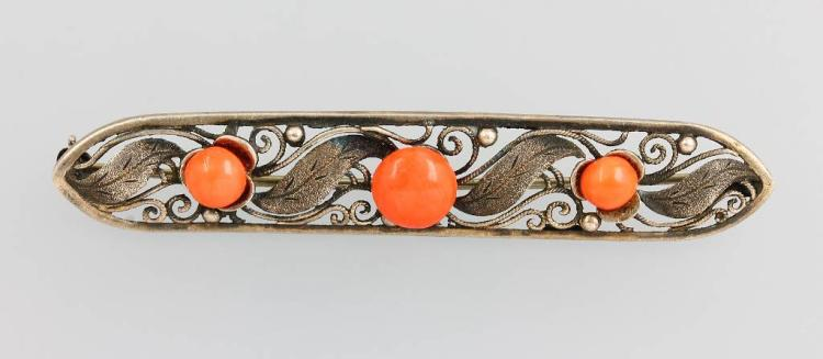 Brooch with coral, silver 835, german approx. 1920