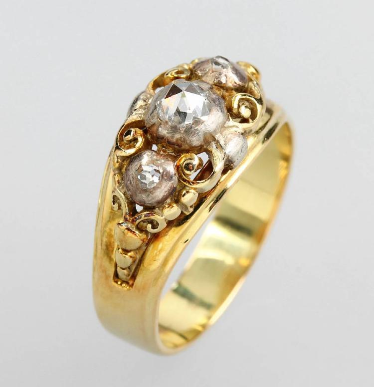 14 kt gold ring with diamonds, german 1950s