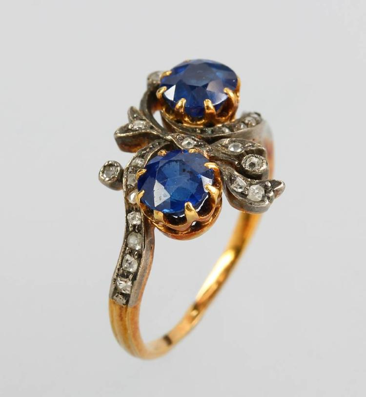 Ring with sapphires and diamonds, approx. 1890