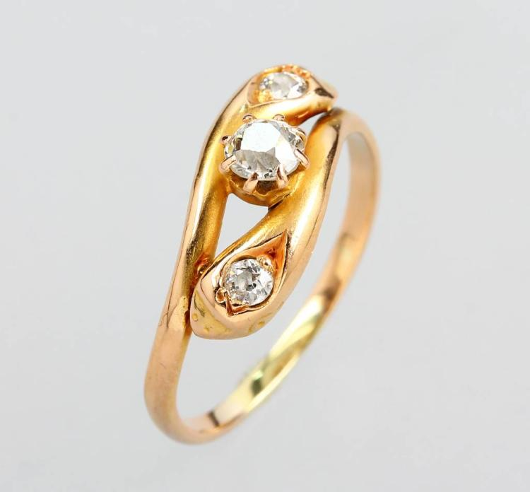 14 kt gold snakering with diamonds, YG 585/000