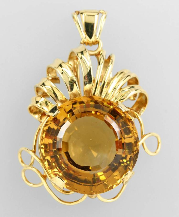 14 kt gold pendant with citrine