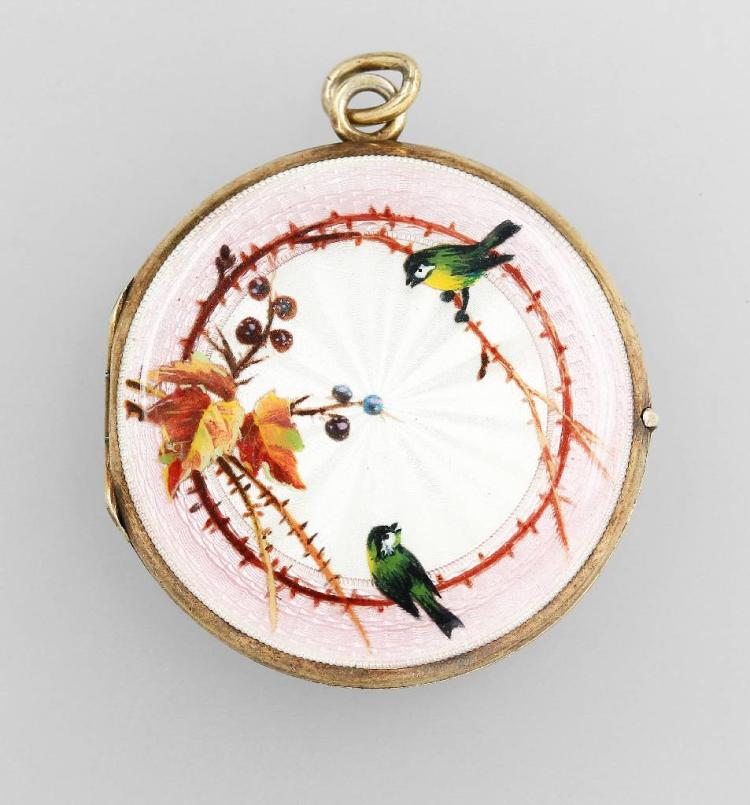 Locket with enamel painting, german approx. 1900