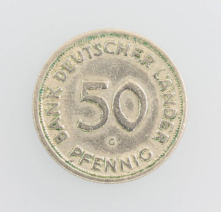 50 Pfennig coin, Bank Deutscher Länder 1950