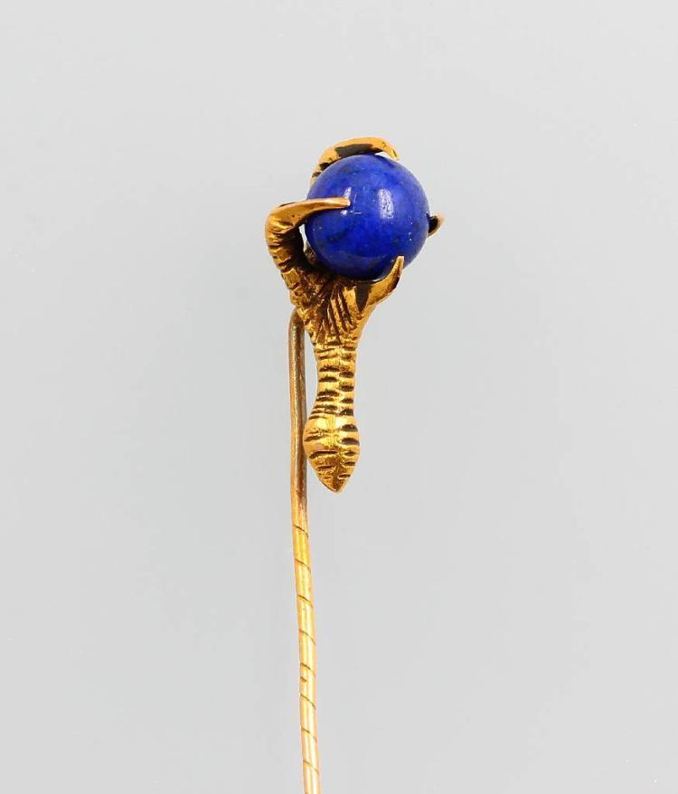 18 kt gold tiepin with lapis lazuli