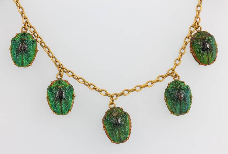Necklace with scarabs, Idar-Oberstein approx. 1890